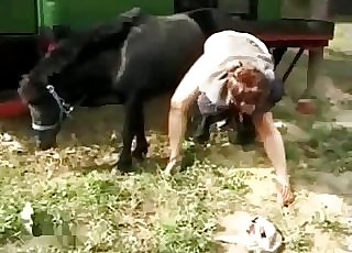 Jaw-dropping black pony fucking her wet cunt